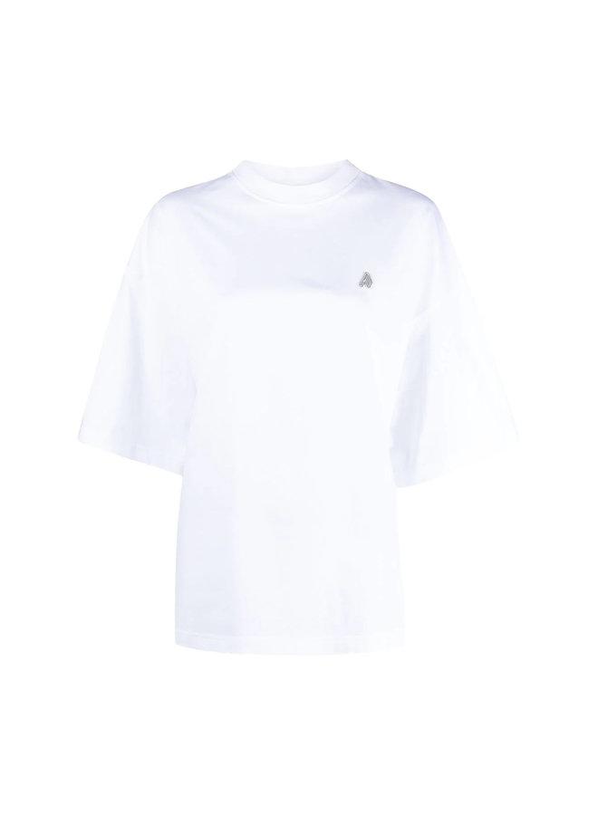 Oversize Crew Neck Logo T-shirt in Cotton in White