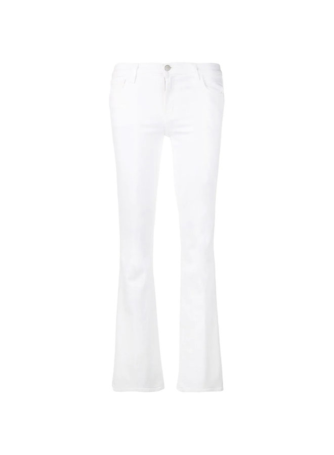 Low Rise Bootcut Jeans in Cotton in White