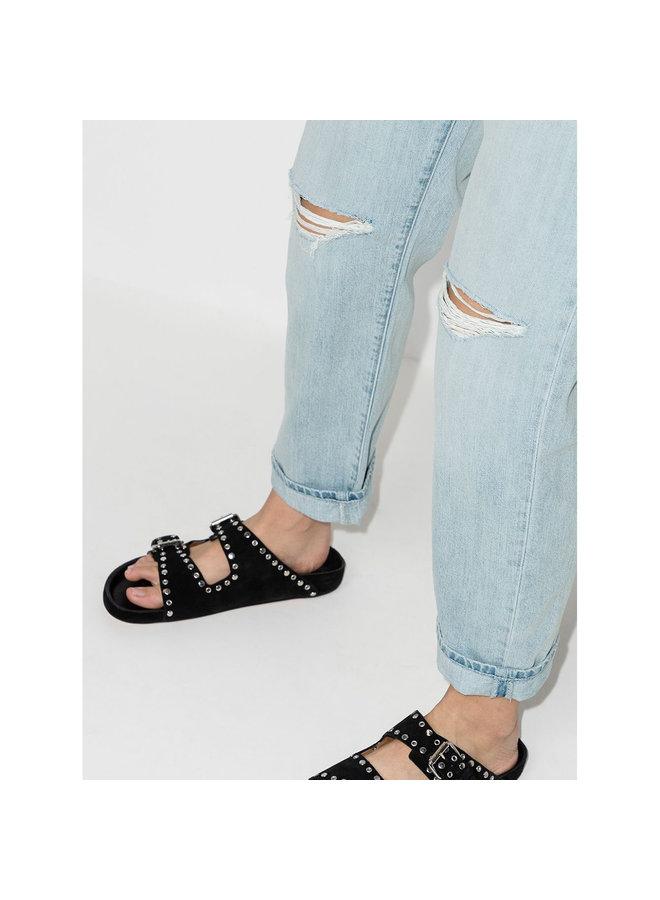 Ripped Boyfriend Jeans in Denim in Stone Wash Blue