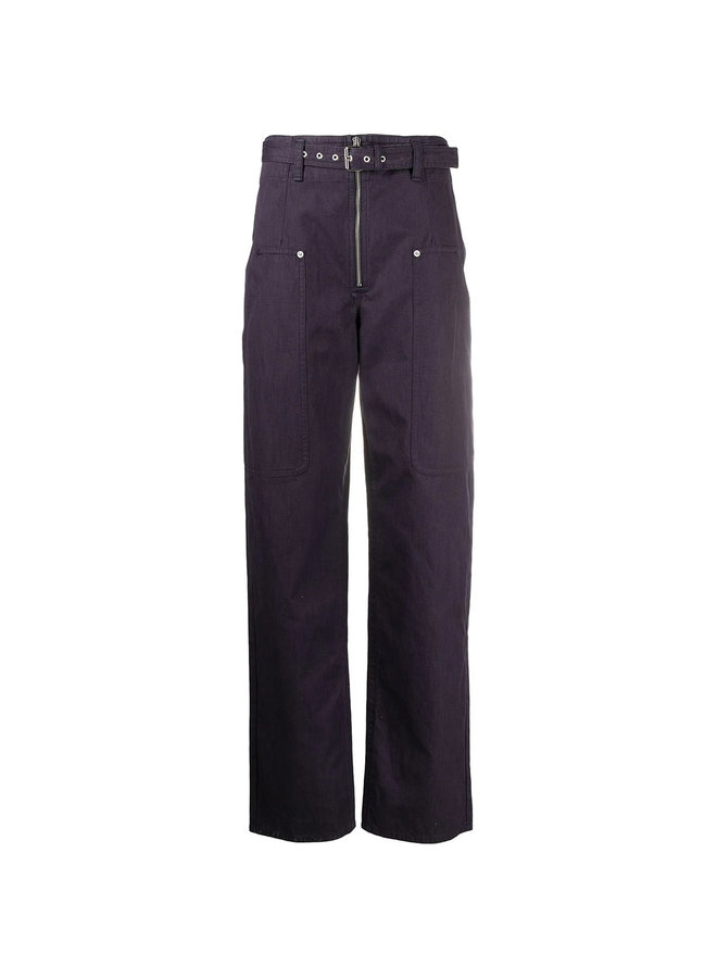 High Waisted Belted Pants in Cotton Linen in Faded Night