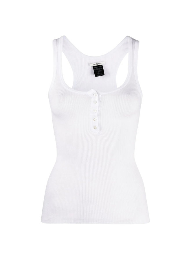 Ribbed Tank Top in Cotton in White