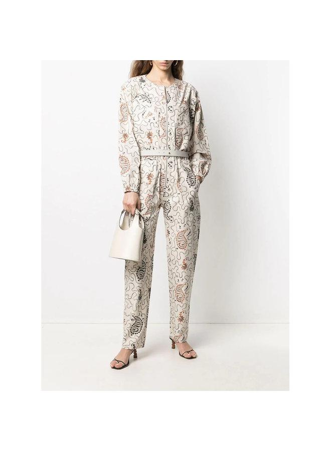 Full Length Printed Jumpsuit in Cotton in Ecru