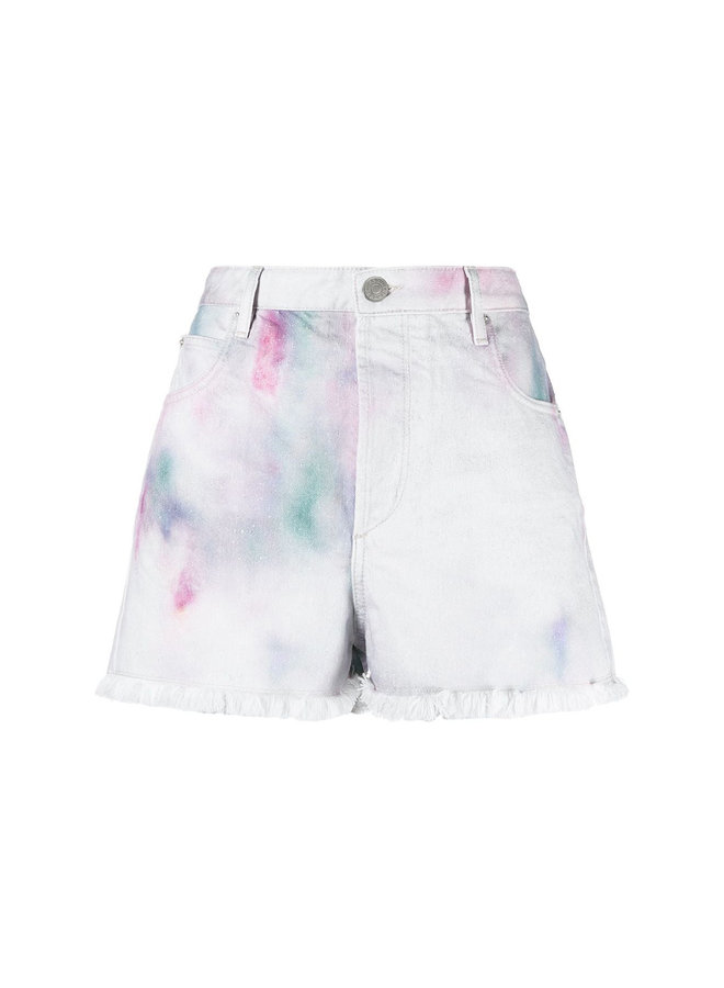 Printed Shorts in Cotton in Celadon