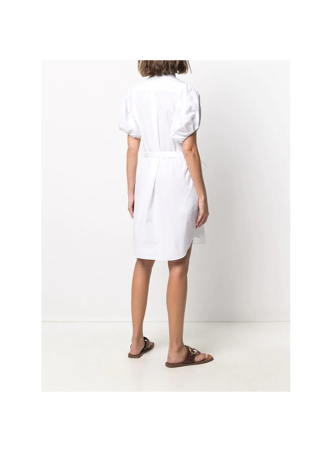 Belted Shirt Dress with Puff Sleeves in Cotton in Pure White