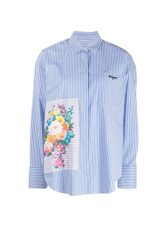 Pinstripe Shirt in Cotton in Blue/White