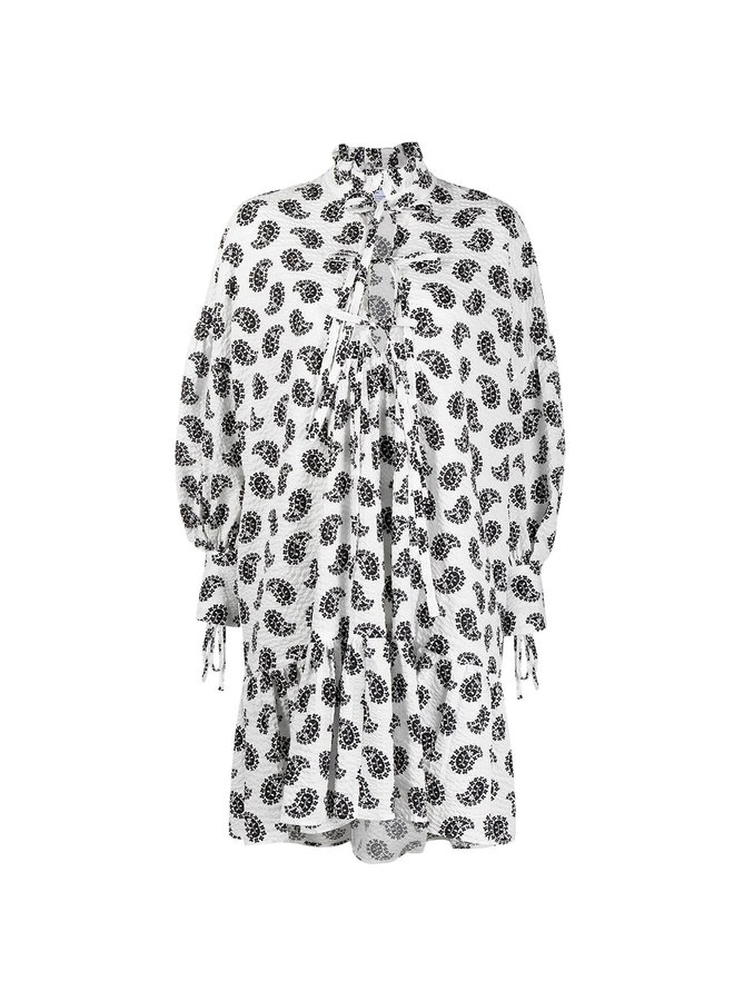 Mini Printed Dress with Puff Sleeves