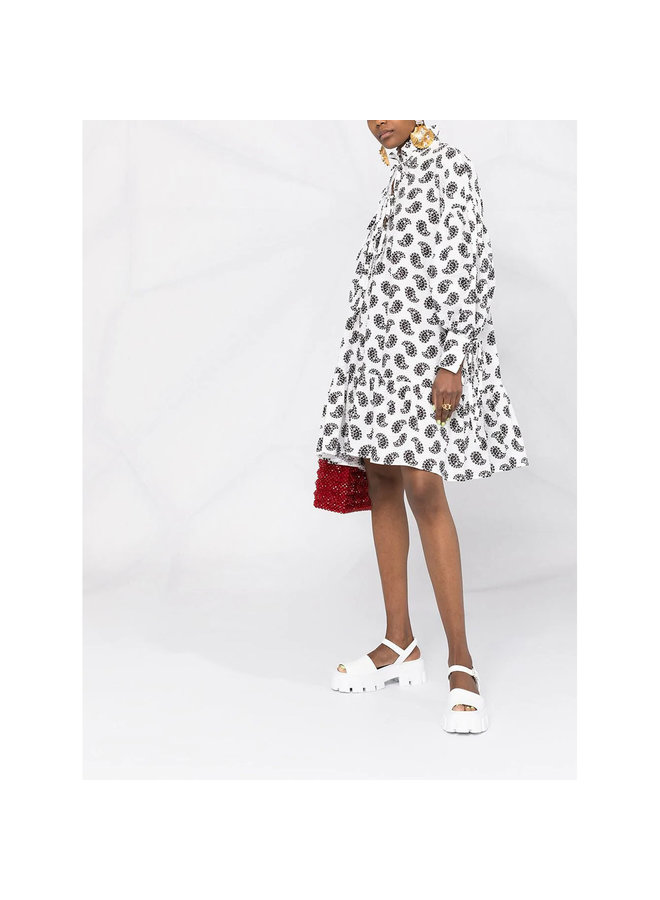 Mini Printed Dress with Puff Sleeves in Cotton in White/Black