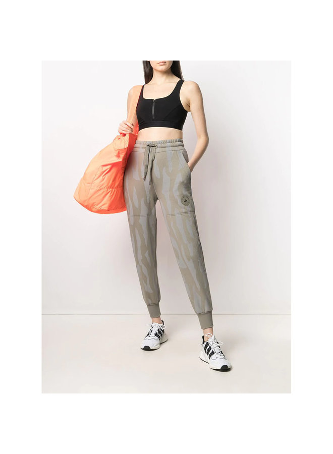 Sweat Pants in Camouflage Print in Cotton in Clay
