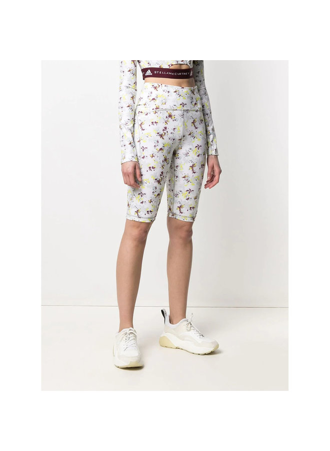 Cycling Shorts in Floral Print in White/Multi