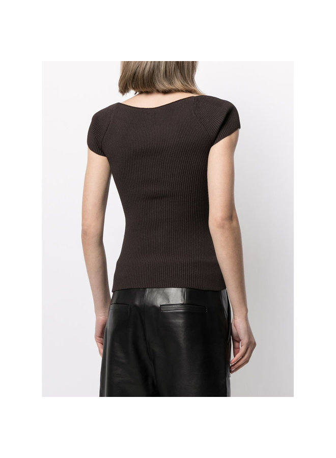 Sweetheart Neckline Blouse in Ribbed Knit in Chestnut