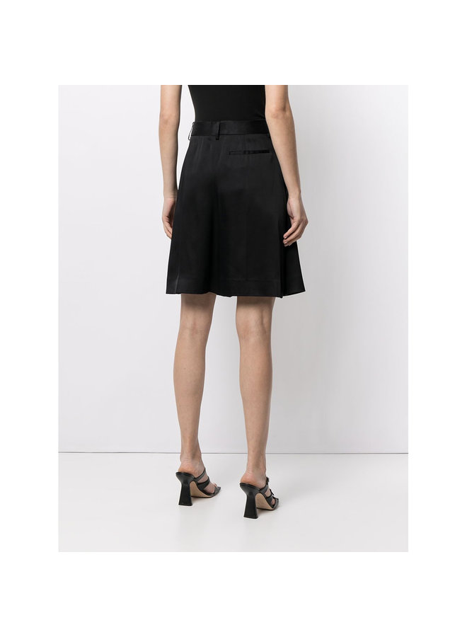 High Waisted Pleated Wide Leg Culotte in Black