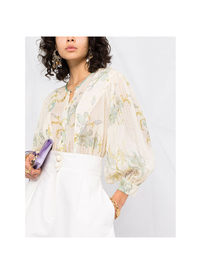Long Sleeve Shirt in Printed Floral in Silk Cotton in Ivory
