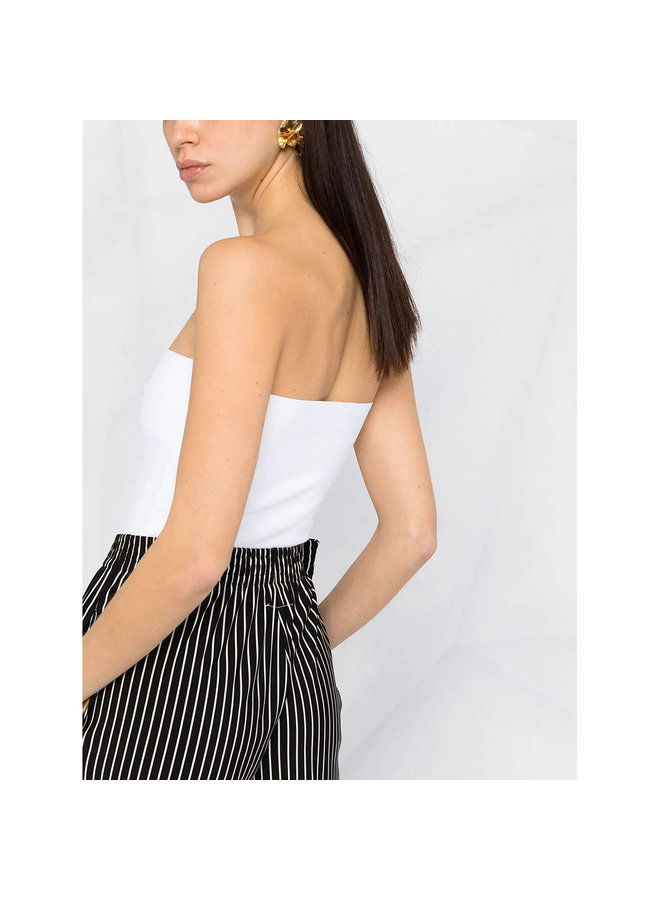Strapless Knitted Cropped Top in Pure White