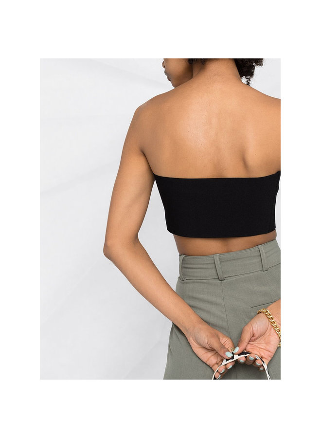 Strapless Knitted Cropped Top in Black