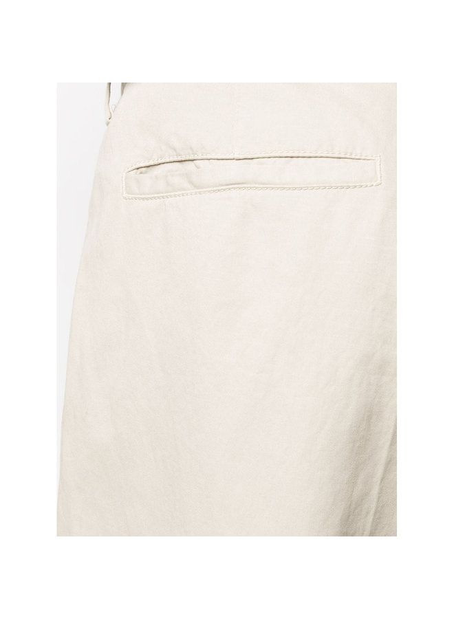 Z Zegna Slim Tailored Pleated Pants in Cotton & Linen in Dust White