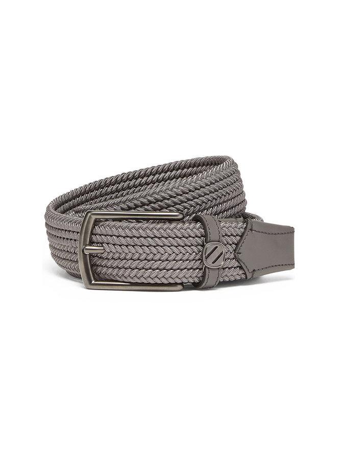 Ermenegildo Zegna Interwoven Belt in Fabric & Leather in Oyster Beige