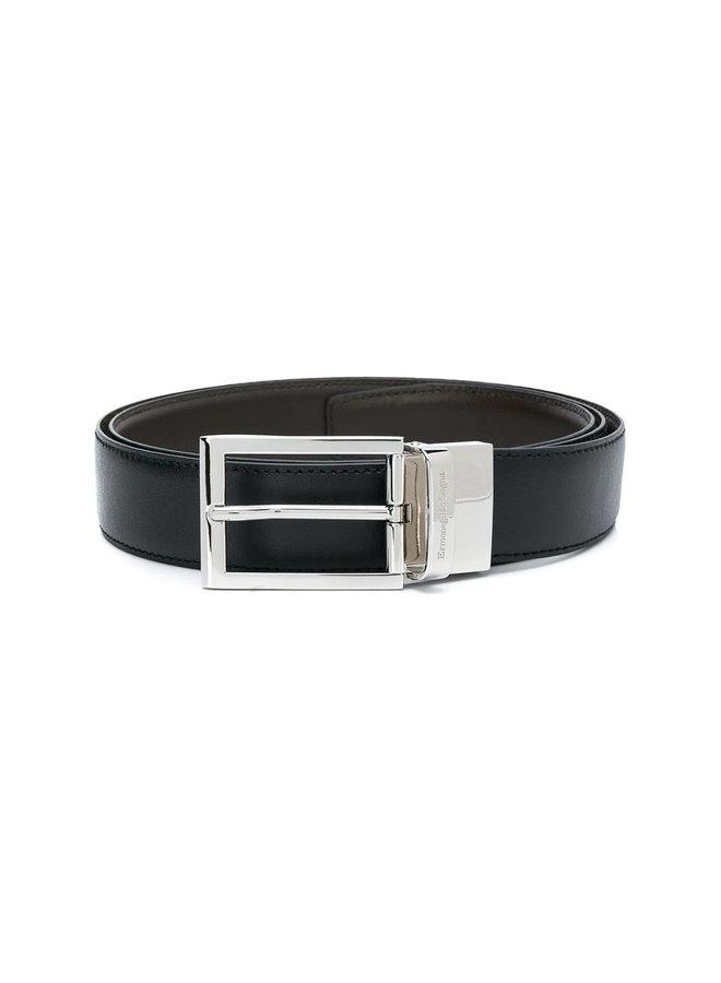 Ermenegildo Zegna Reversible Belt in Leather in Black/Brown