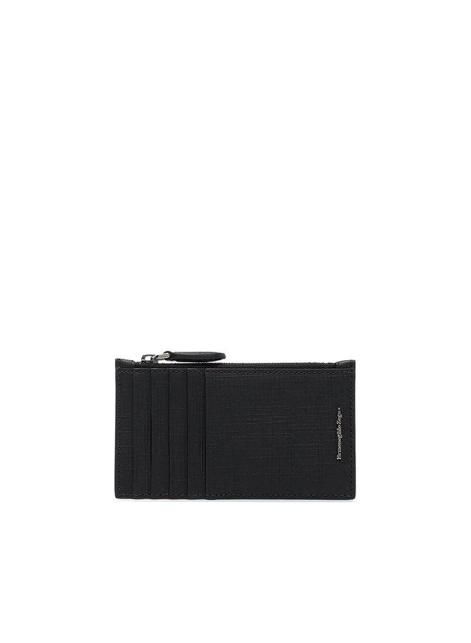Ermenegildo Zegna Zip Card Holder in Saffiano Leather in Black