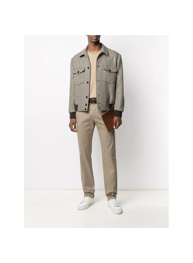 Z Zegna Slim Chino Pants in Cotton in Light Taupe