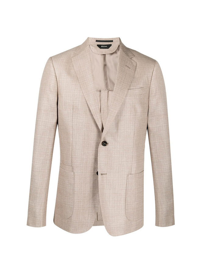 Z Zegna Single Breasted Fitted Blazer Jacket