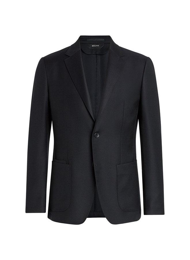 Z Zegna Single Breasted Blazer Jacket in Merinos Wool in Navy