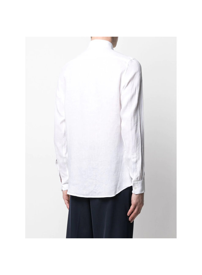 Z Zegna Long Sleeve Shirt in Linen in White