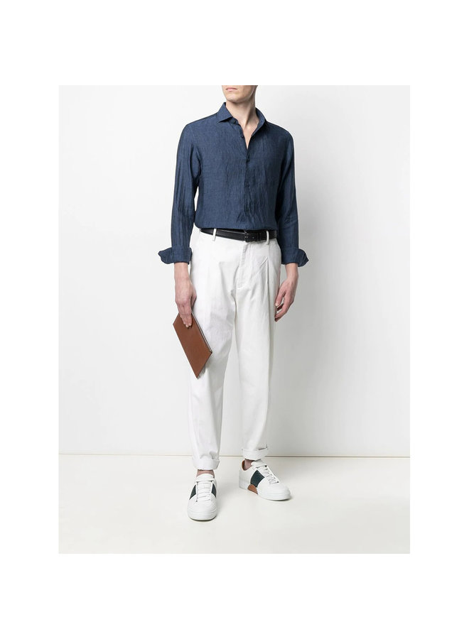 Z Zegna Long Sleeve Shirt in Linen in Blue