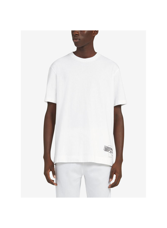 Z Zegna Crew Neck Printed T-shirt in Cotton in White