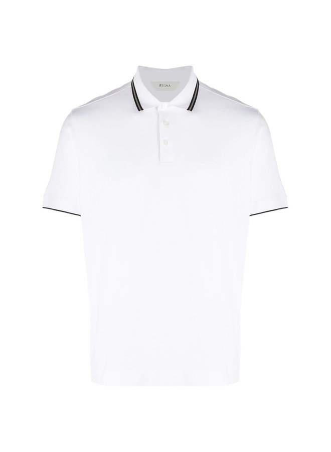 Z Zegna Polo T-shirt with Stripe Trim in Cotton in White/Blue