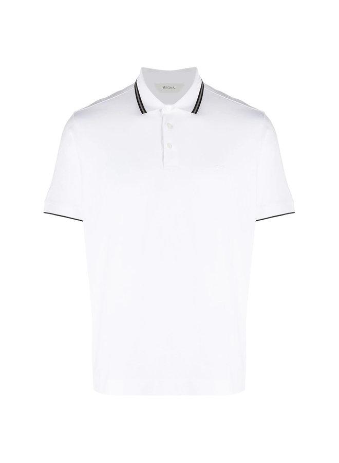 Z Zegna Polo T-shirt with Stripe Trim