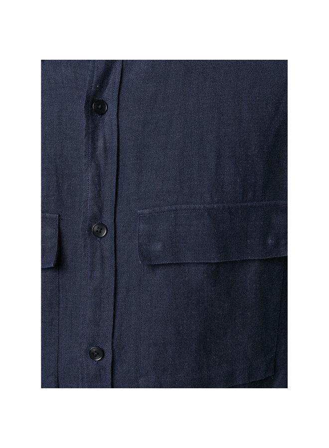 Z Zegna Sahariana Shirt Jacket in Linen in Navy