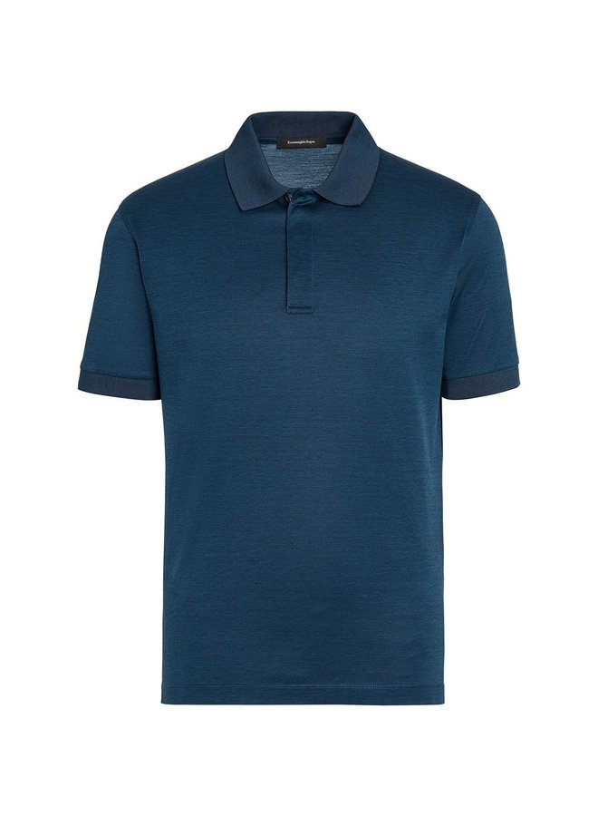 Ermenegildo Zegna Polo T-shirt in Cotton in Teal Blue