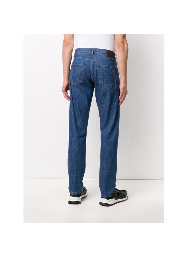 Ermenegildo Zegna Mid Rise Straight Leg Jeans in Cotton in Light Blue