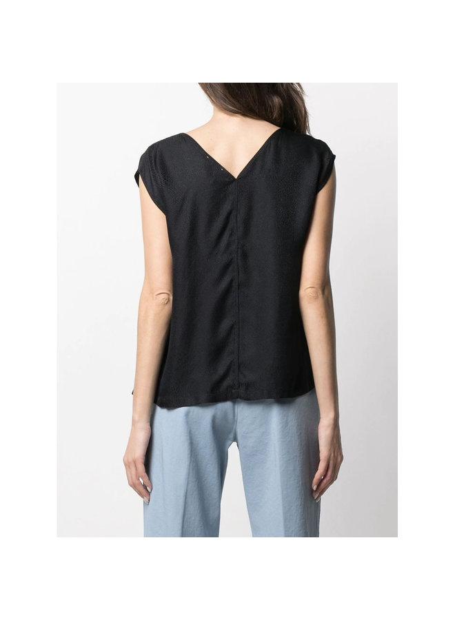 V-neck Sleeveless Blouse in Jacquard in Black