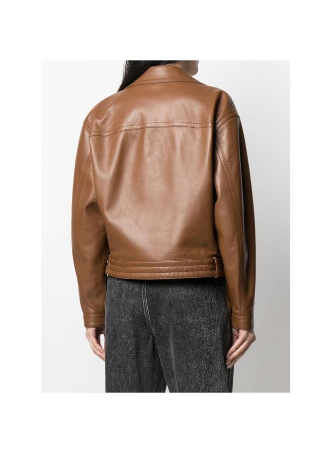 Oversized Biker Jacket in Leather in Camel