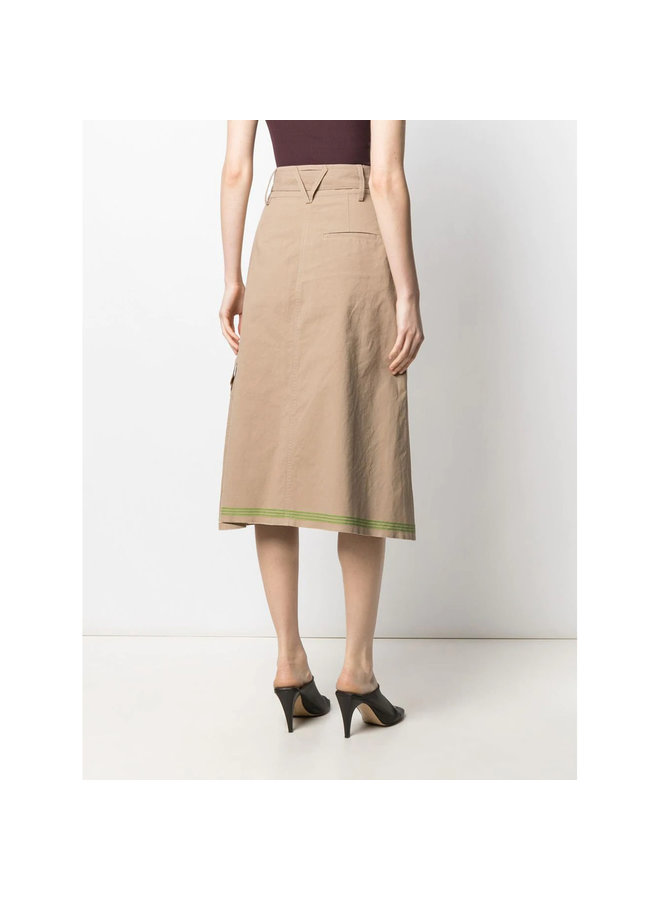 Belted A-line Skirt in Cotton in Beige