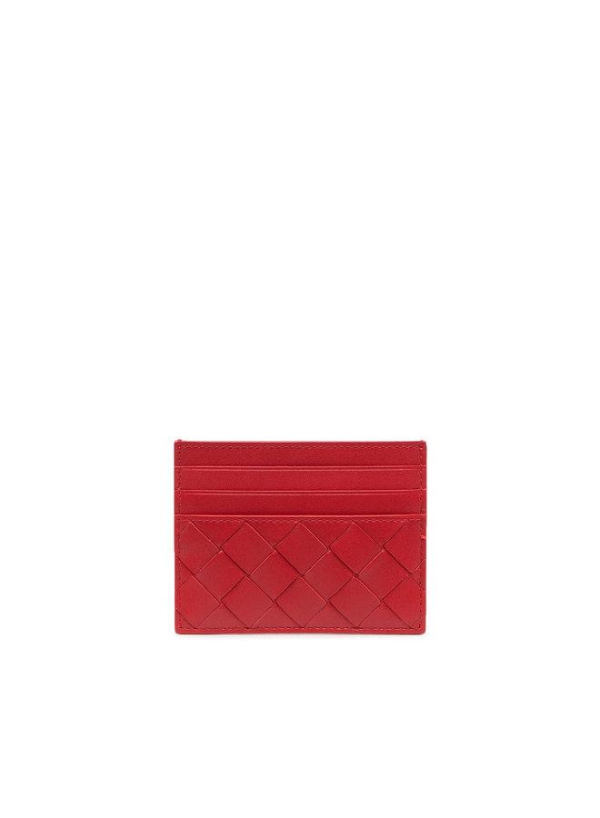 Card Holder in Intrecciato Leather in Chili
