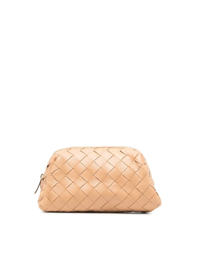Small Zip Up Cosmetic Case in Intrecciato Leather in Almond