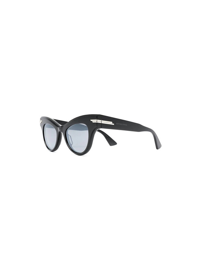 Cat Eye Eyewear in Acetate in Black/Silver