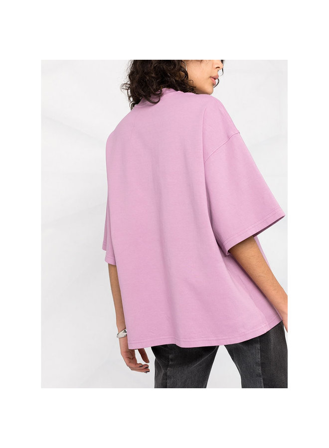 Crew Neck Logo T-shirt in Cotton in Pink