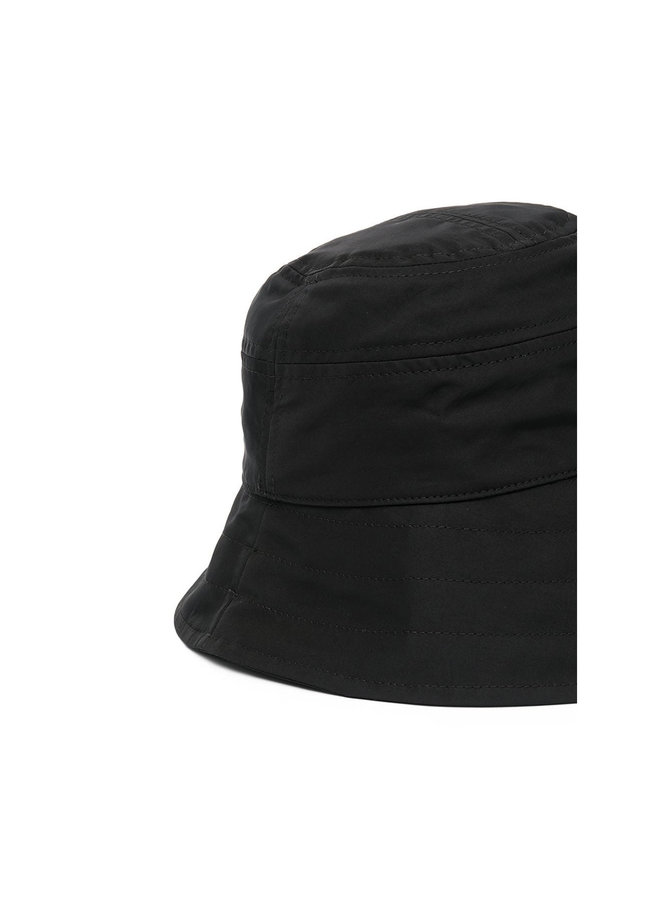 Dropped Brim Hat in Cotton in Black