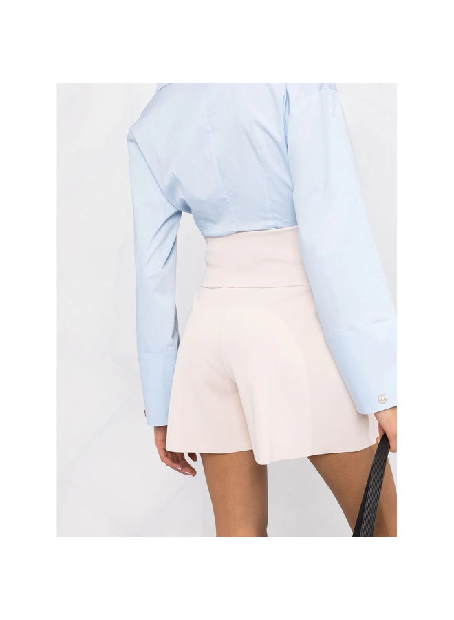 High Waisted Shorts in Punto Milano in Porcelain