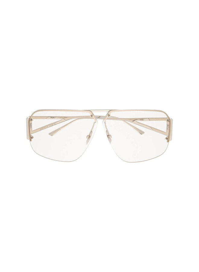 Square Frame Oversized Sunglasses in Metal Silver/Clear
