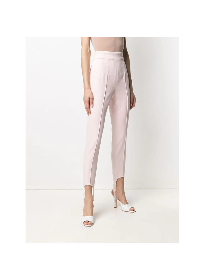 High Waisted Skinny Pants in Stretch Cotton in Light Pink