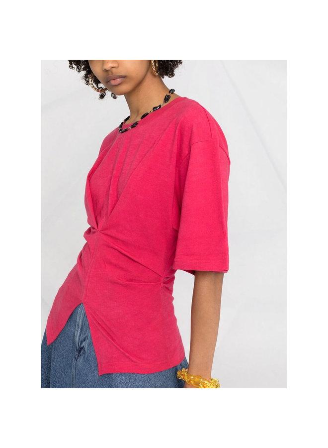 Asymmetric Crew Neck T-Shirt in Cotton in Raspberry