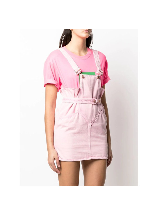 Square Neck Mini Dress in Cotton in Light Pink