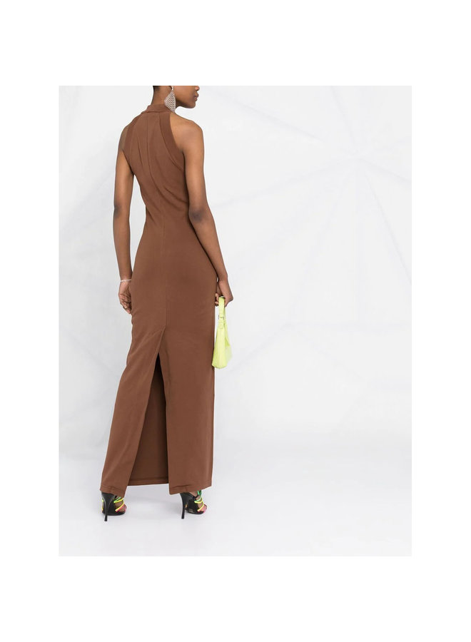 Sleeveless Long Dress in Cotton in Rum Brown
