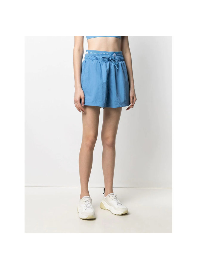 Logo High Waisted Shorts in Baby Blue