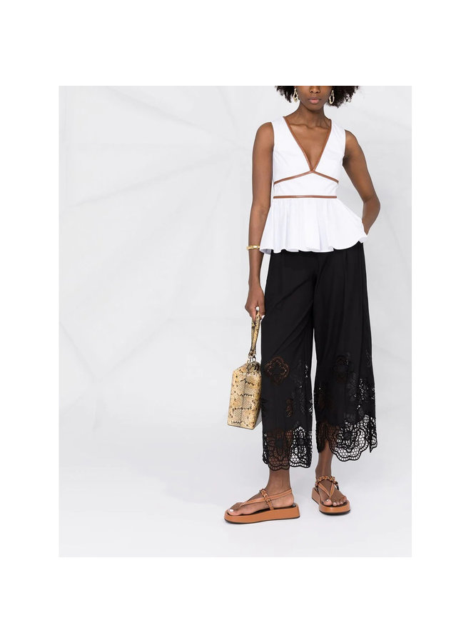 Cropped Pants with Lace Details in Cotton in Black