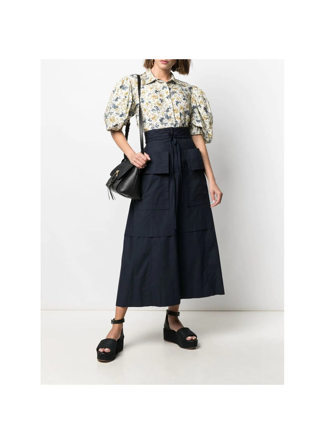 A-line Midi Skirt in Cotton in Navy